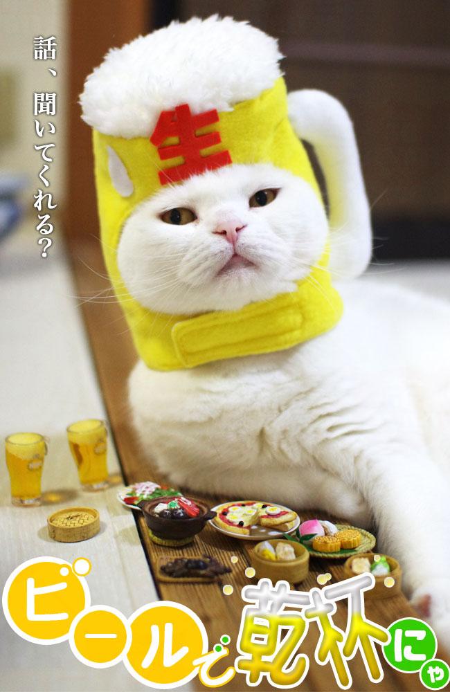 ゴロにゃんオリジナル 猫用被り物 ビールで乾杯にゃ