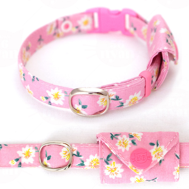 マイポケつきデイリー猫用首輪EX ロココ風小花柄 (ピンク)