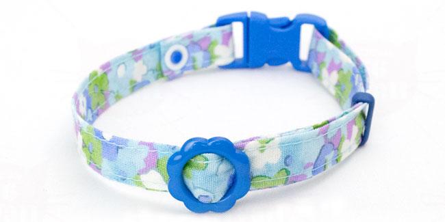 デイリー猫用首輪 10ミリ幅 ふんわりフラワー ブルー