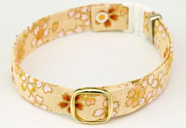 デイリー猫用首輪15ミリ幅 さくらの花びら花化粧