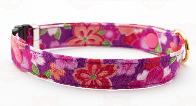 猫のデイリー首輪15ミリ幅 さくら三昧 紫