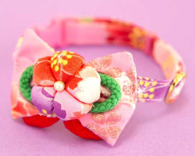 和柄ちょこリボン猫首輪 きらきらひらひら蝶桜