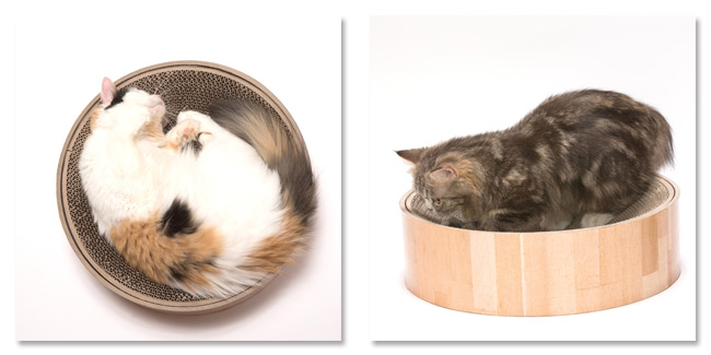 猫壱 バリバリボウル ツメとぎ 猫柄 ダークブラウン