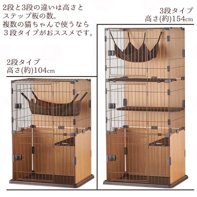 ペットケージ スリムキャットサークル 2段と3段の比較