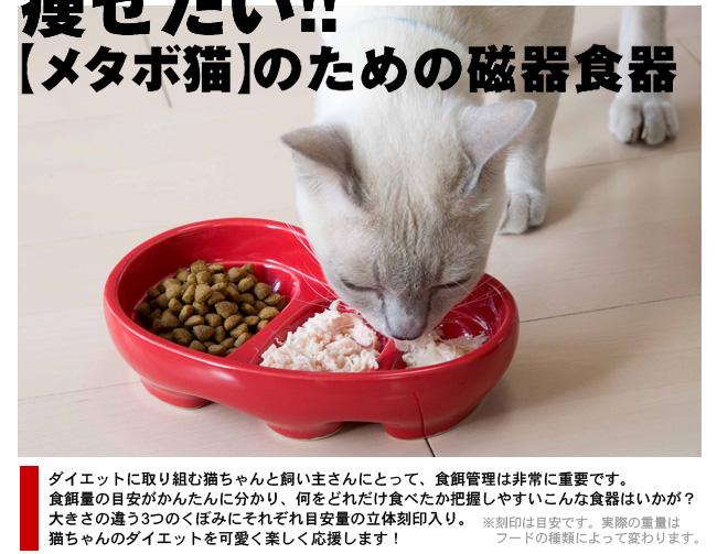 痩せたい!【メタボ猫】のための磁器食器 ダイエットに取り組む猫ちゃんと飼い主さんにとって、食餌管理は非常に重要です。食餌量の目安がかんたんに分かり、何をどれだけ食べたか把握しやすいこんな食器はいかが?大きさの違う3つのくぼみにそれぞれ目安量の立体刻印入り。猫ちゃんのダイエットを可愛く楽しく応援します!(刻印は目安です。フードの種類によって変わります。)