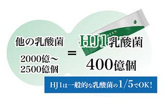 他の乳酸菌2000億〜2500億個=HJ1乳酸菌400億個。HJ1は一般的な乳酸菌の1/5でOK