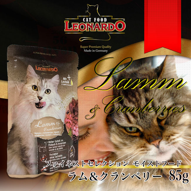 LEONARDO レオナルド 成猫用ウェットフード ファイネストセレクション モイスト ラム&クランベリー 85g(パウチ)